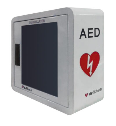 White Steel AED / Defibrillator cabinet with Alarm, Strobe light and Hook