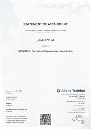 HLTAID001 CPR CERTIFICATE EXAMPLE