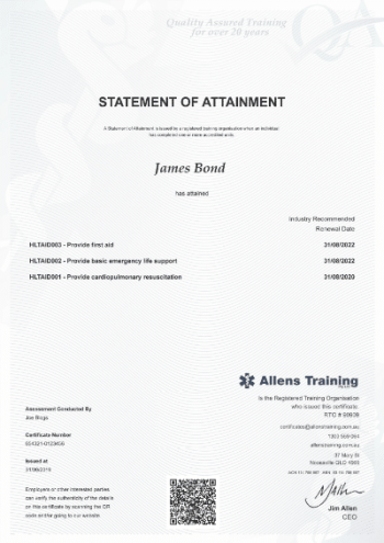 HLTAID003 First Aid Certificate