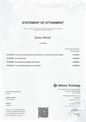 HLTAID004 Child First Aid Certificate