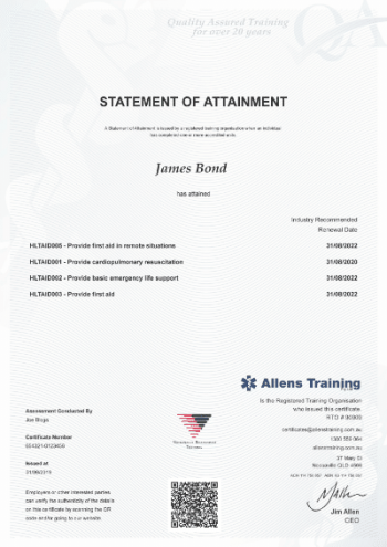 HLTAID005 Remote First Aid Certificate